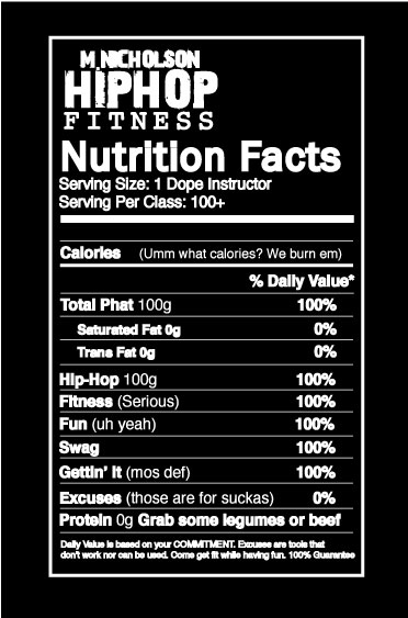 M. Nicholson Hip Hop Fitness Nutritional Facts